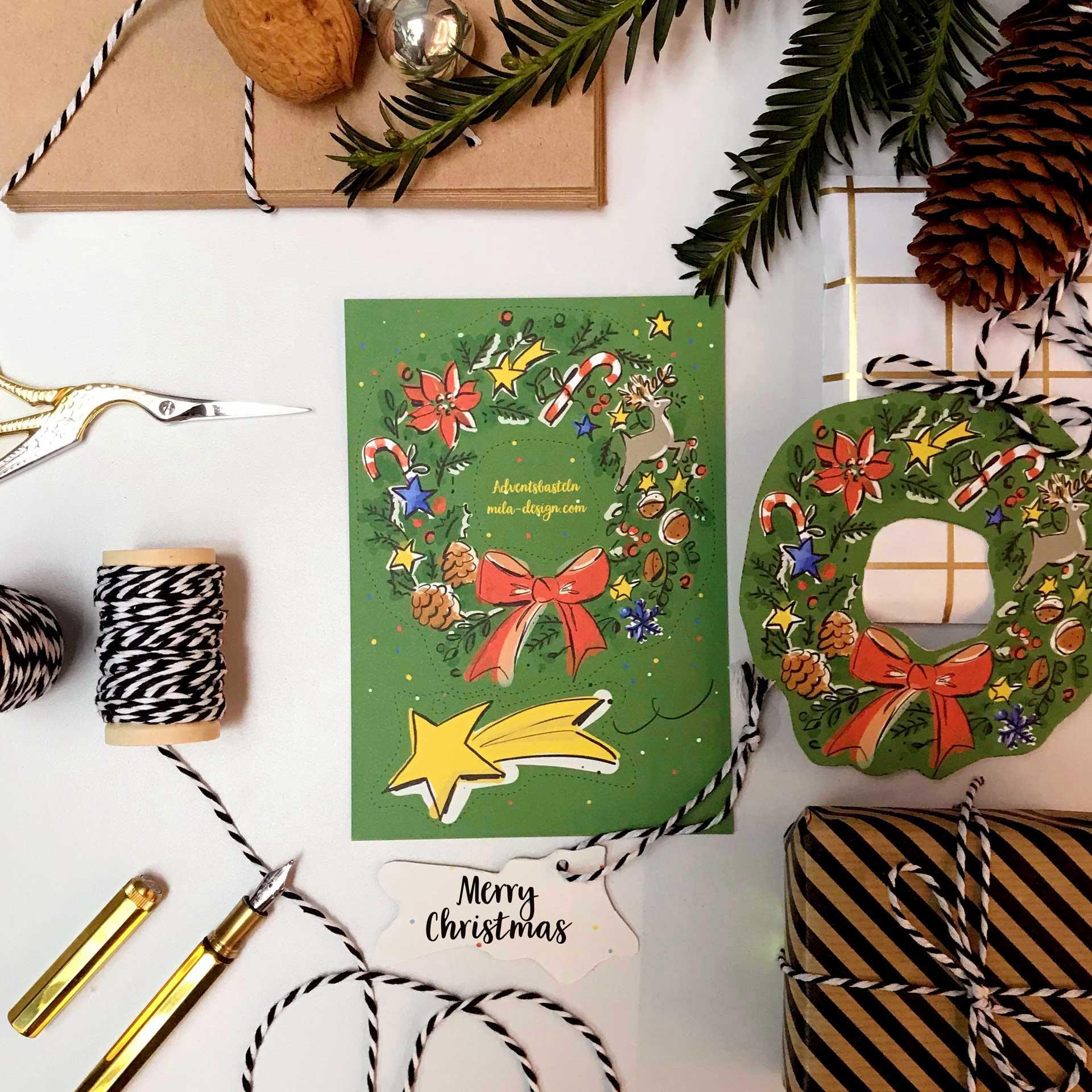Bastel-Bogen  Weihnachtskranz