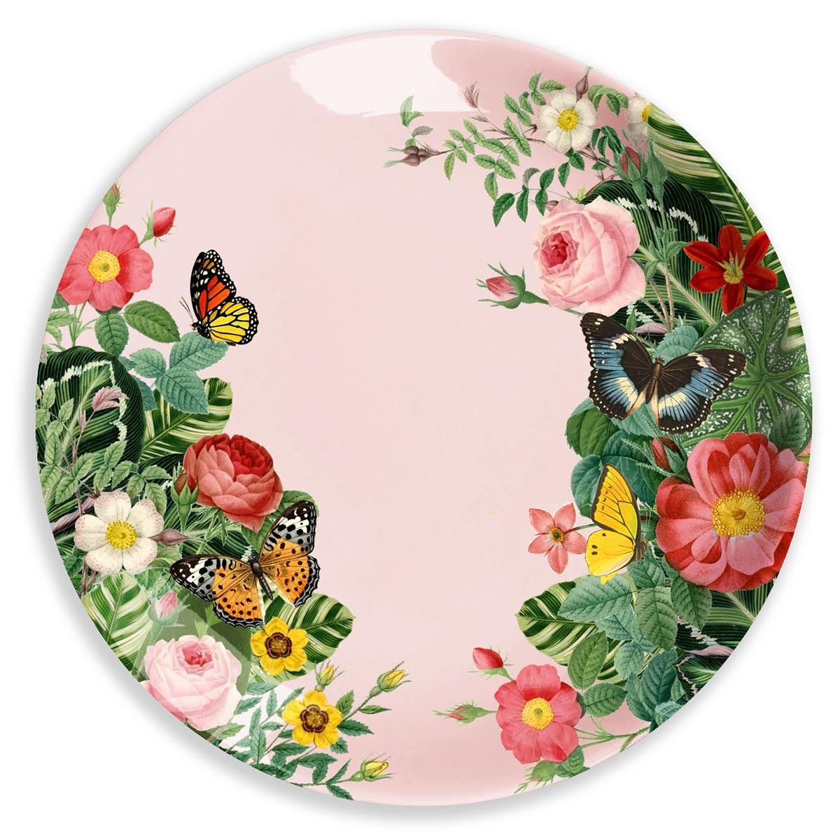 Ginger Melamin Teller - Pink Flower