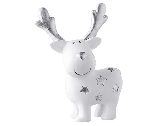 Resin Figur  - Elch Gustav mit Sternen, stehend weiß