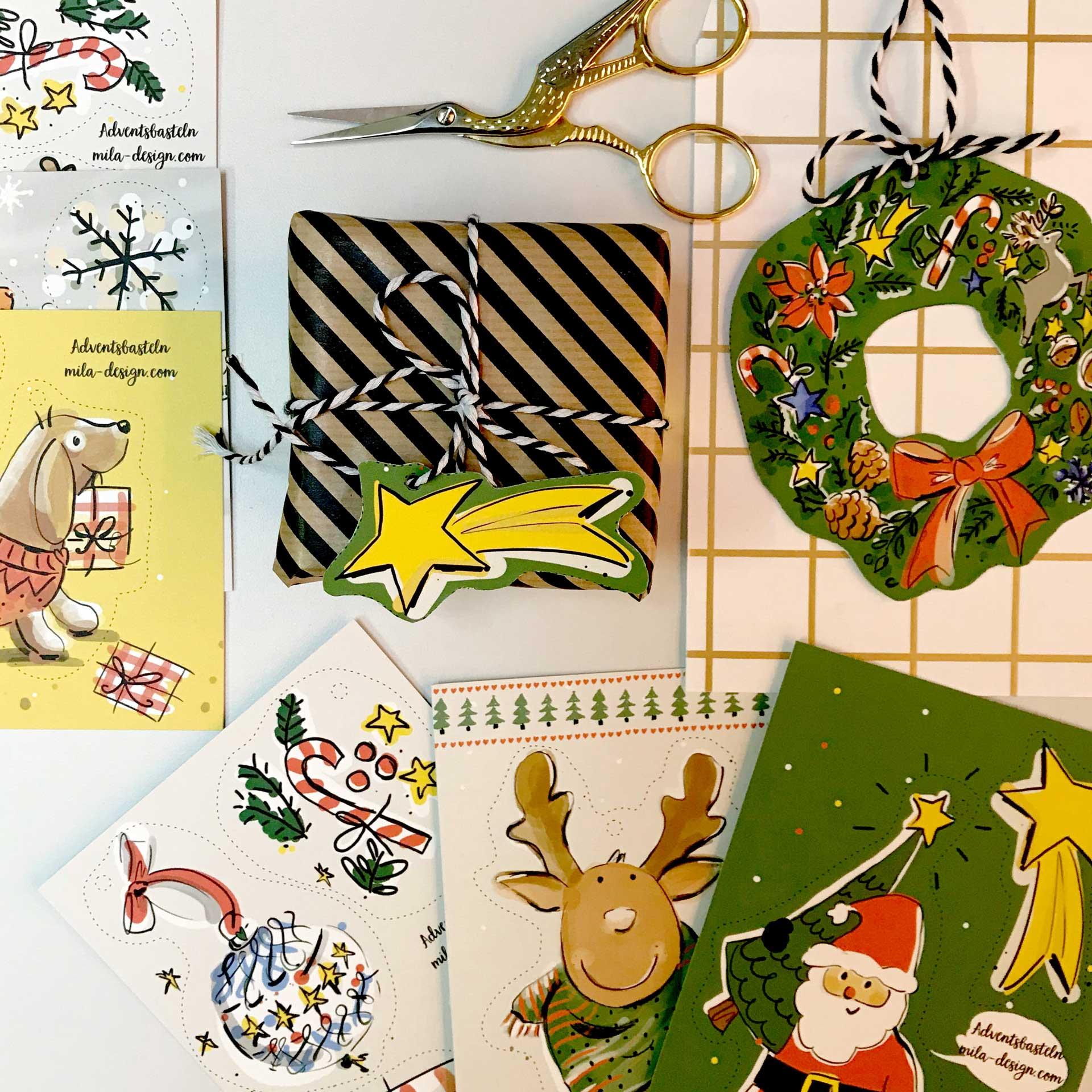 Bastel-Set Weihnachten,  7 Bastel-Bögen