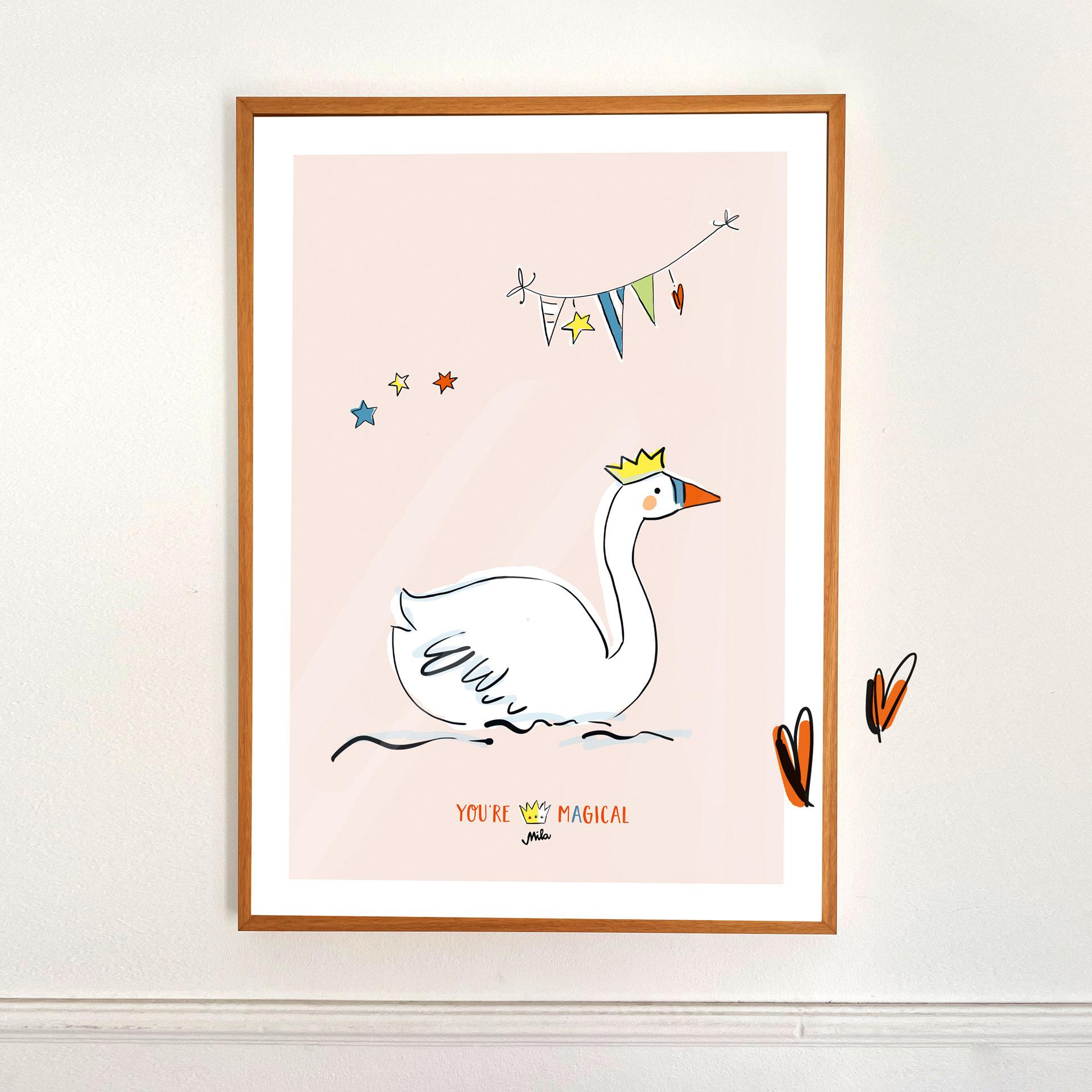 Poster klein - Schwan mit Krone - Magical Times