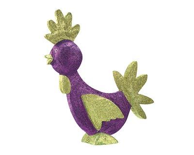 Pappmache Figur - Hahn Glitter lila, 40 cm