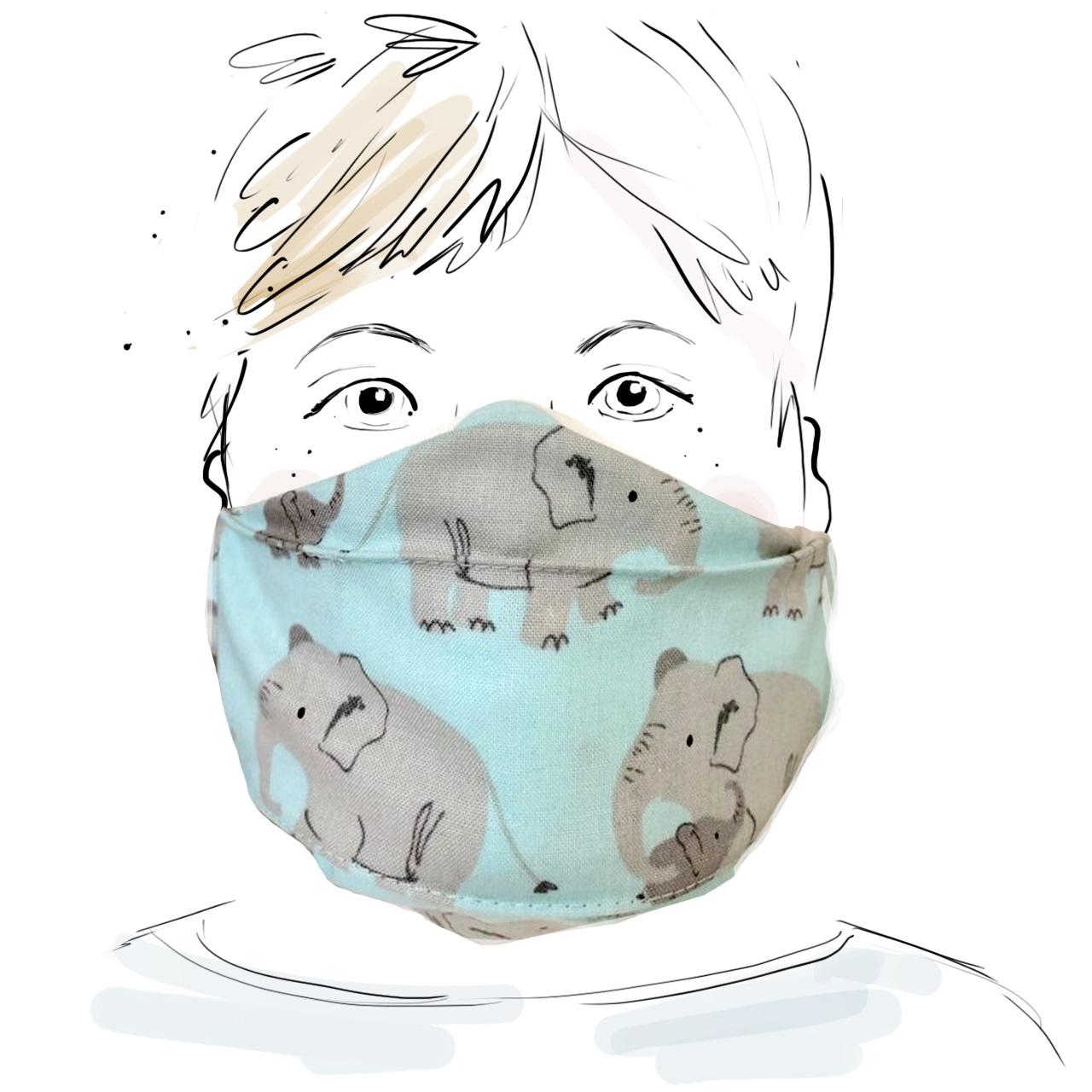 Kinder Schutzmaske - Elefant mit Kind (M)