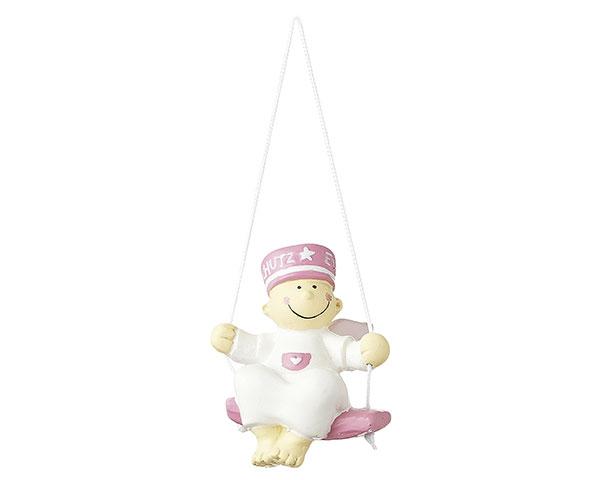 Figur - Schutzengel Fridolin auf Schaukel pink