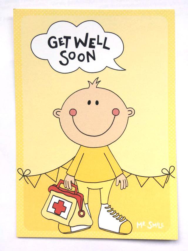 Postkarte - Mr. Smile Get well soon