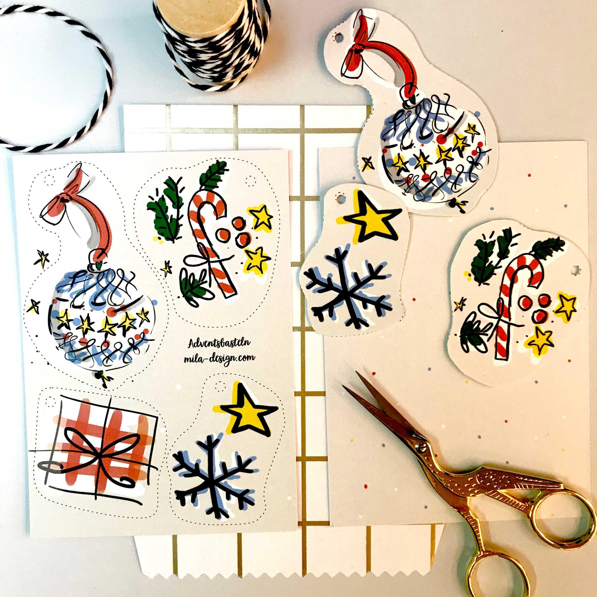 Bastel-Bogen - Schneeflocke Geschenk, Weihnachtskugel und Zuckerstange