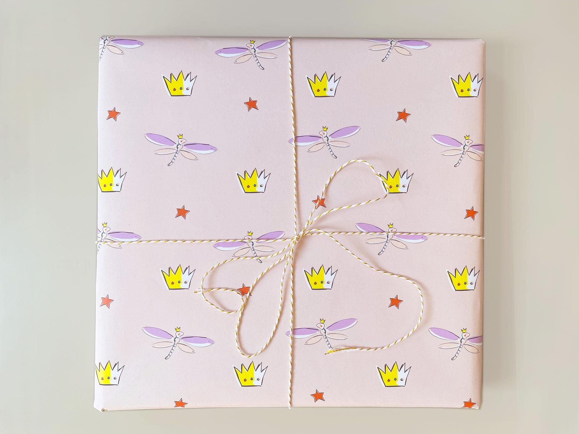 Geschenkpapier - Libelle und Krone - Magical Times, 3-er Set