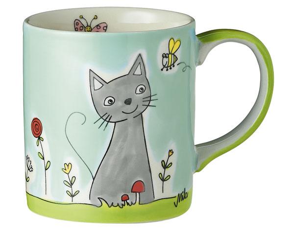 Becher - Katze in Blumenwiese