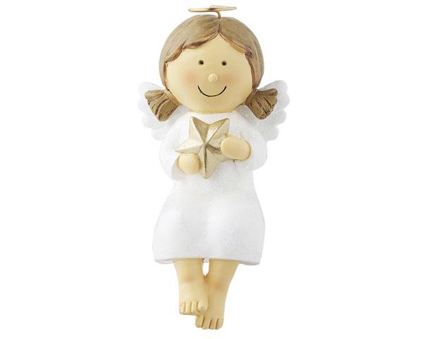 Resin Figur - Kantensitzer Engel Nelli, weiß 14 cm