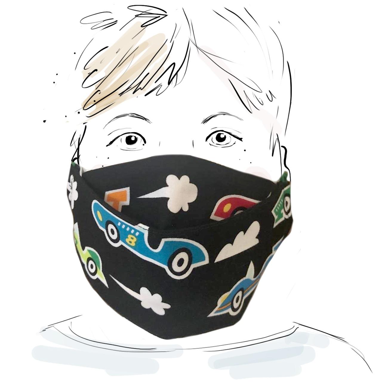 Kinder Schutzmaske - Rennautos (M)