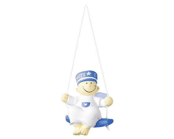 Figur - Schutzengel Fridolin auf Schaukel blau