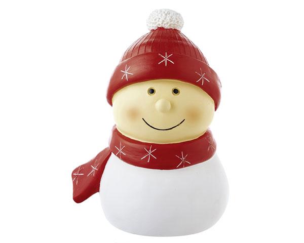 Resin Figur - Mr. Snowmann groß, rot 16 cm