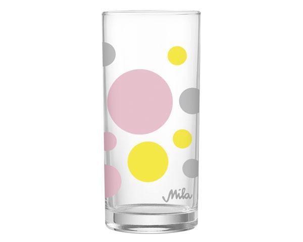 Glas - Dots grau/rosa/gelb