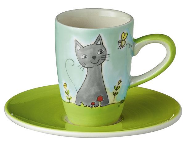 Espresso Tasse - Katze in Blumenwiese