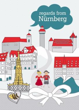 Postkarte - Nürnberg Englisch