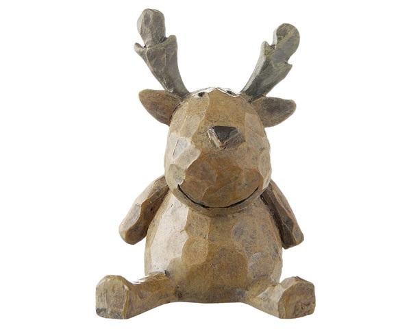 Resin Figur - Elch Woody sitzend, baun