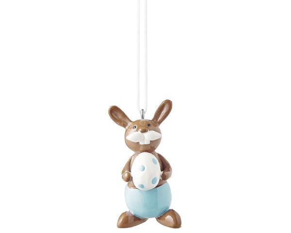Figur - Hase mit Ei, hängend blau