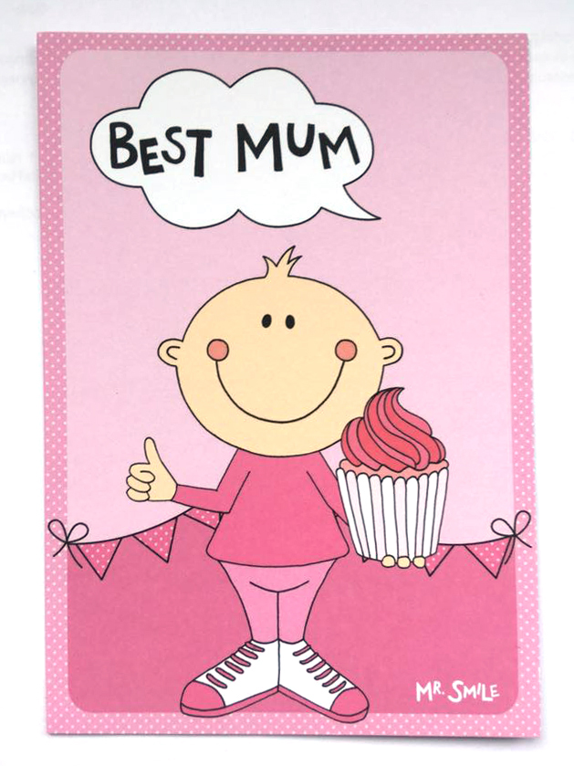 Postkarte - Mr. Smile Best Mum