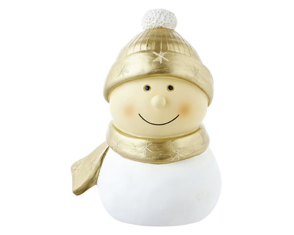 Resin Figur - Mr. Snowmann groß, gold 16 cm