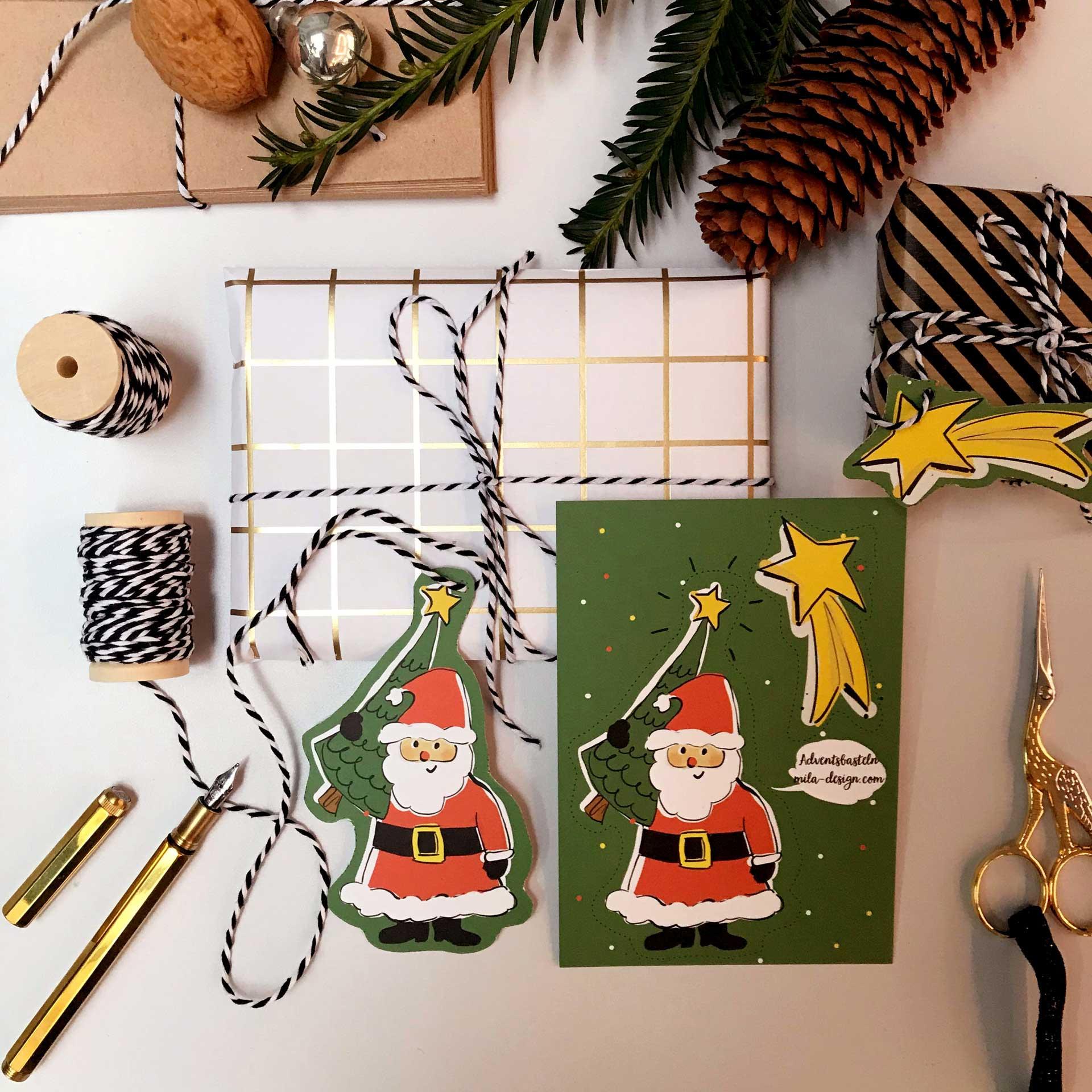 Bastel-Bogen Weihnachtsmann