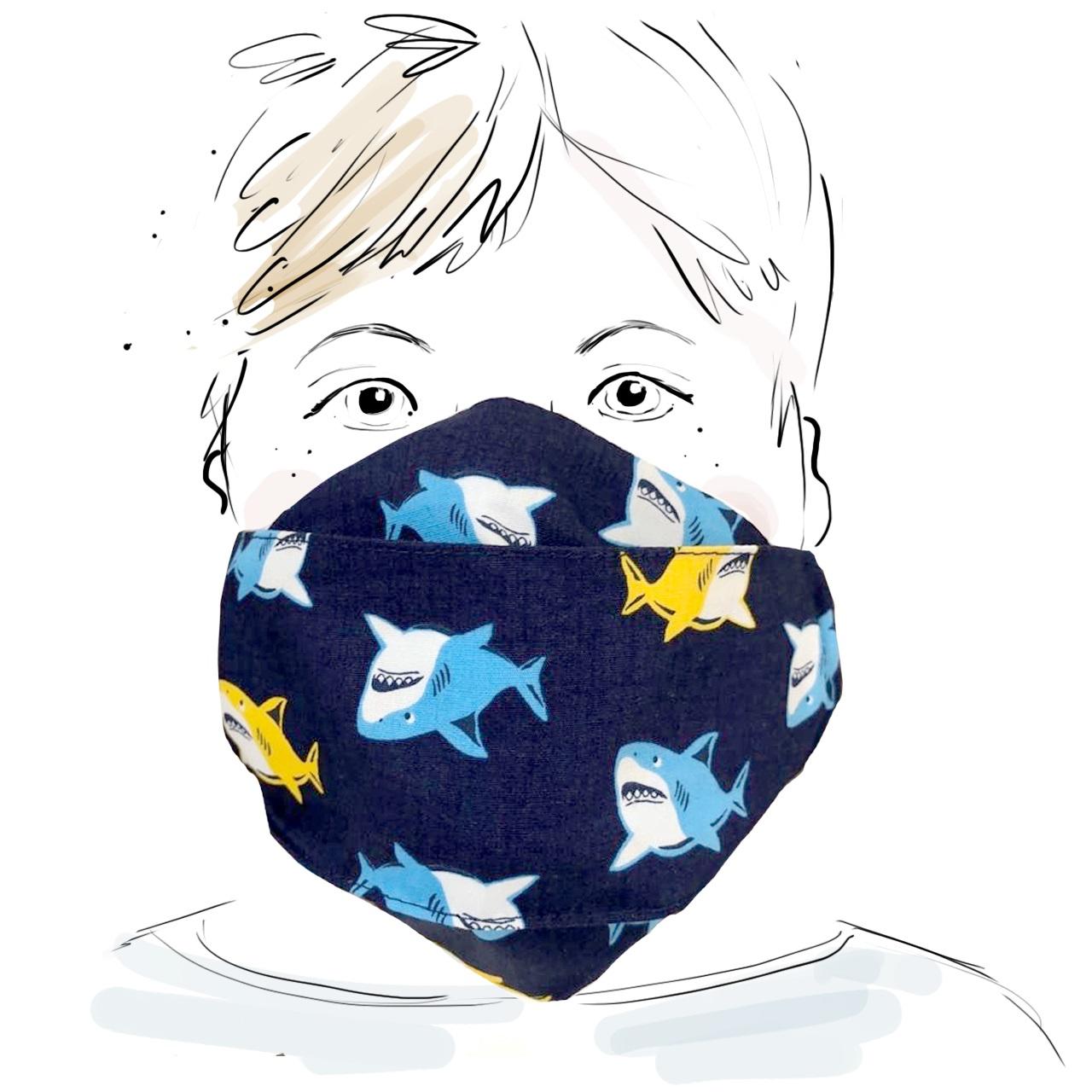 Kinder Schutzmaske - Haie (M)