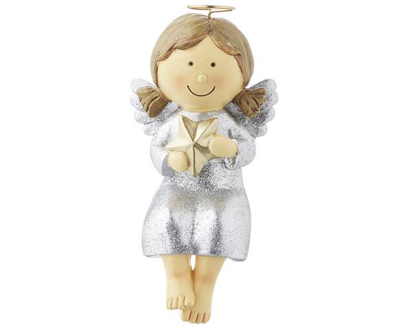 Resin Figur - Kantensitzer Nelli, silber 14 cm