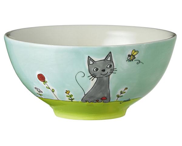 Schale - Katze in Blumenwiese