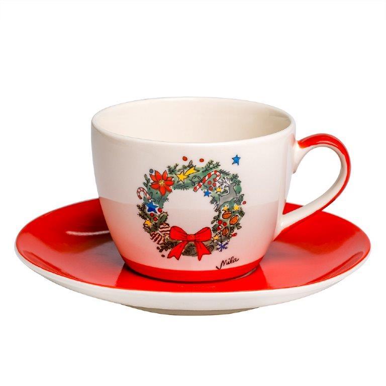 Cappuccino Tasse - Weihnachtskranz