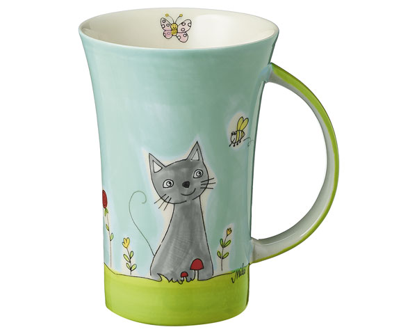 Coffee Pot - Katze in Blumenwiese