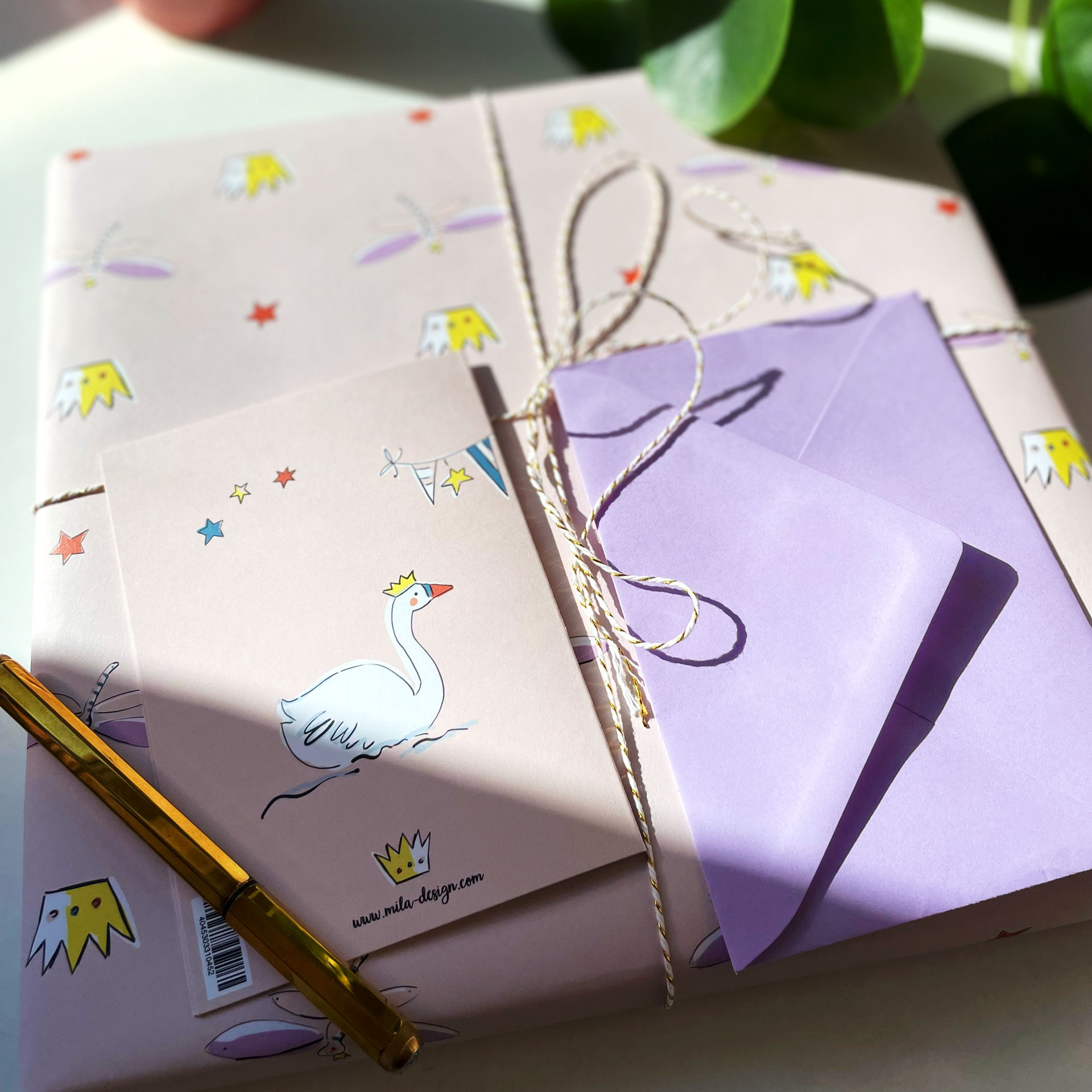 Grußkarte mit Umschlag - Prinzessin und Schwan-Magical Times