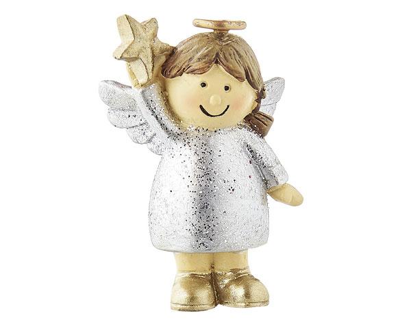 Resin Figur - Engel Nelli stehend, silber