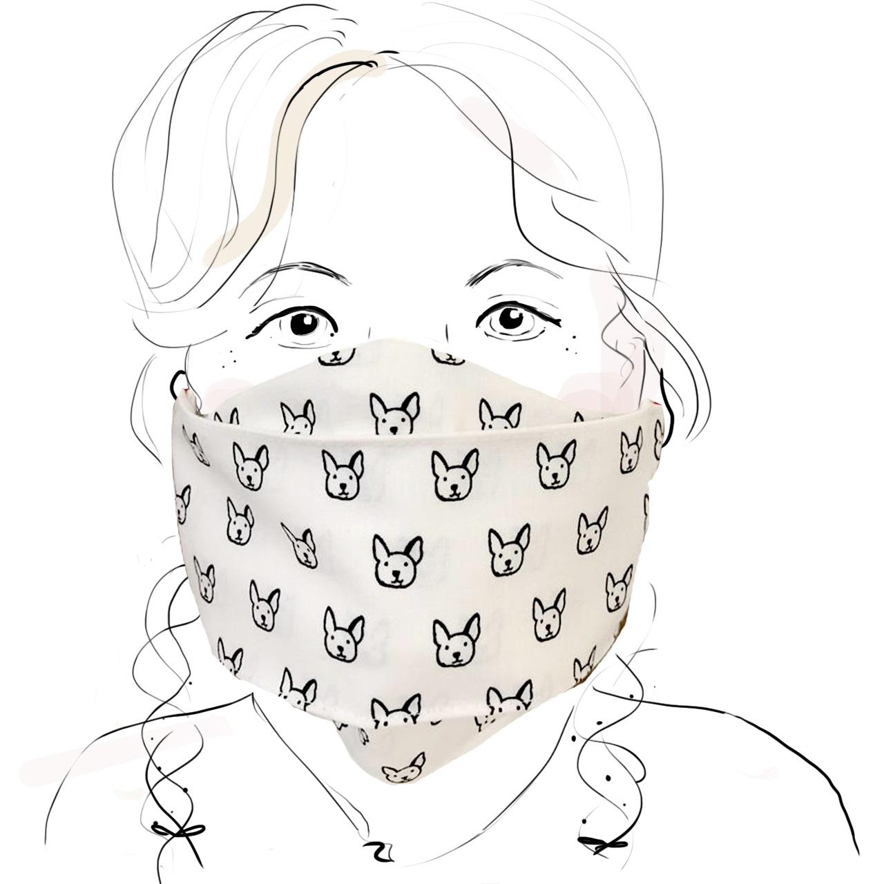 Kinder Schutzmaske - Hündchen s/w (M)