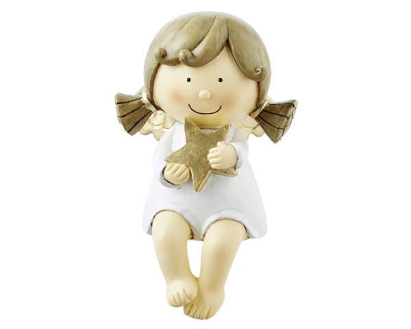 Resin Figur - Kantensitzer Engel Sophia, weiß 14,5 cm