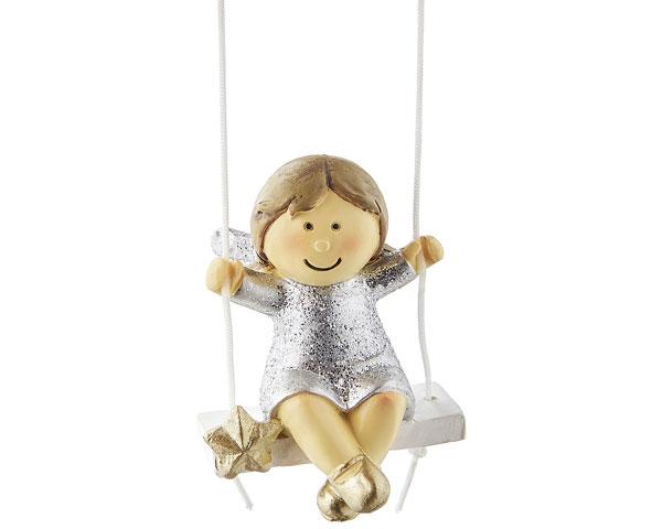 Resin Figur - Engel Nelli auf Schaukel, silber