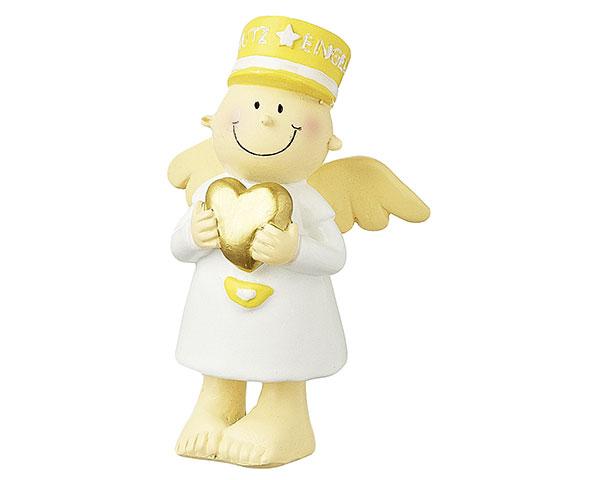 Figur - Schutzengel stehend mit Herz, gelb