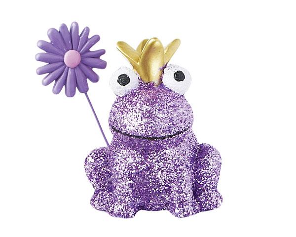 Resin Figur - Glitter Frosch, lila 8 cm