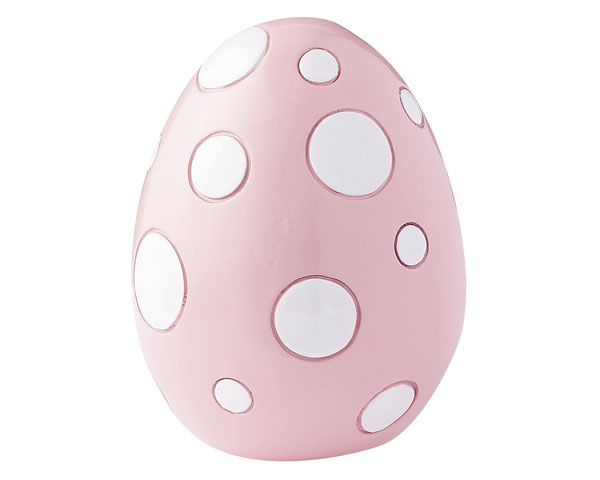 Figur - Osterei 10 cm groß, rosa/weiß