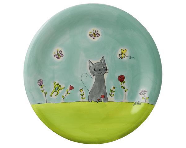 Teller - Katze in Blumenwiese