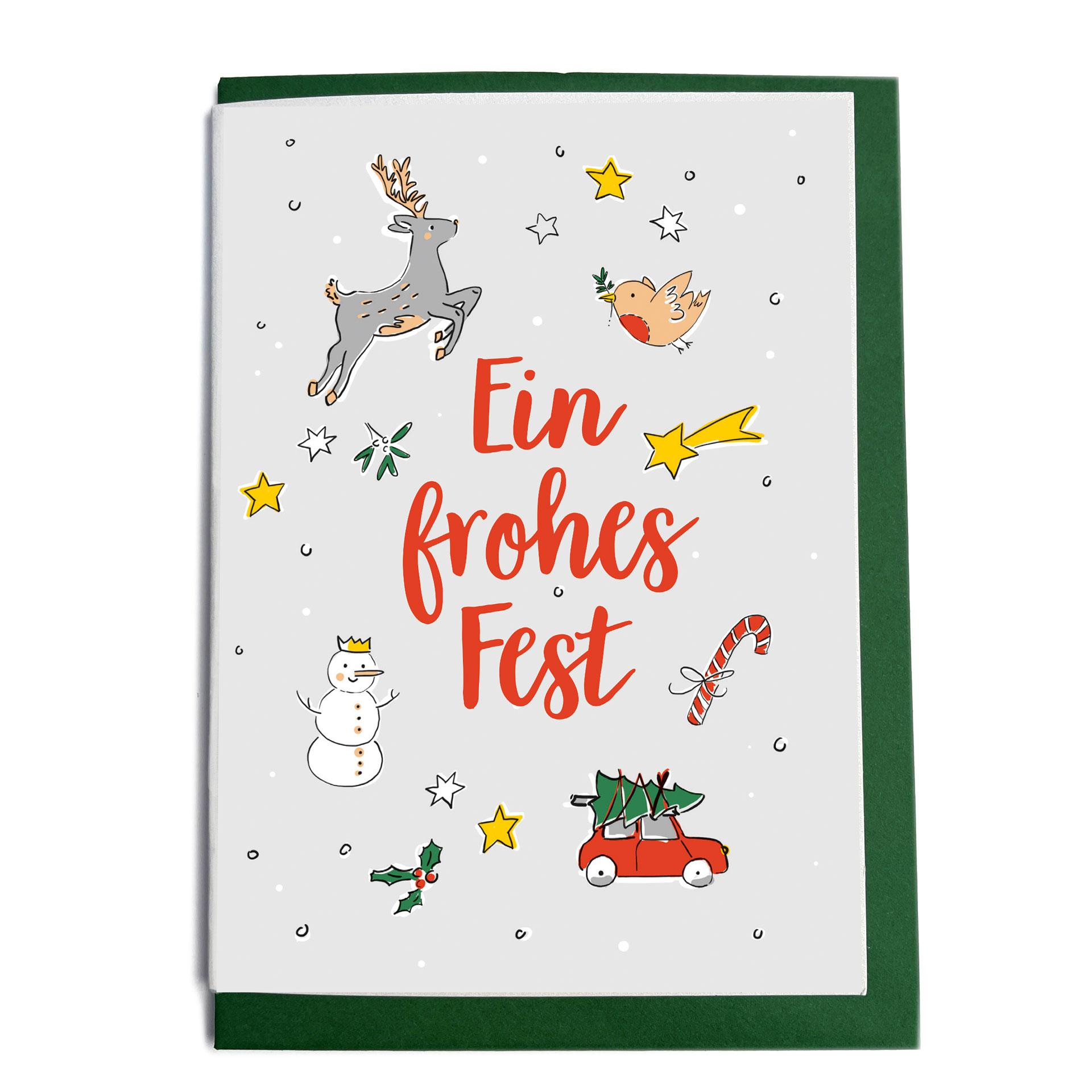 Grußkarte mit Umschlag - Frohes Fest