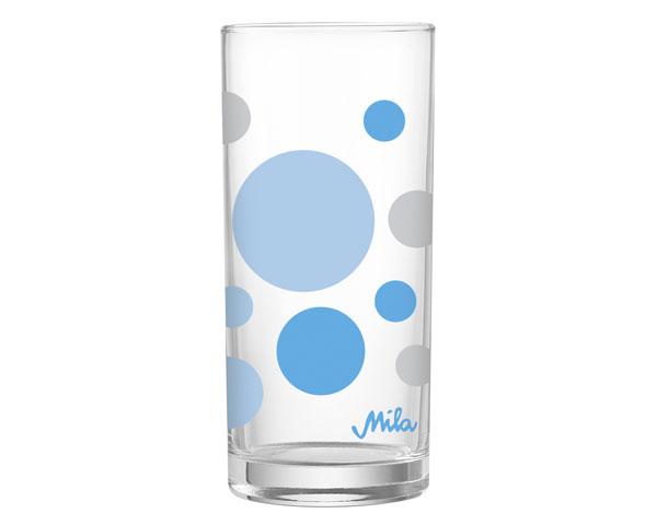 Glas - Dots blau/grau