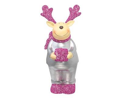 Resin Figur - Elch mit Glitterschal, silber/pink