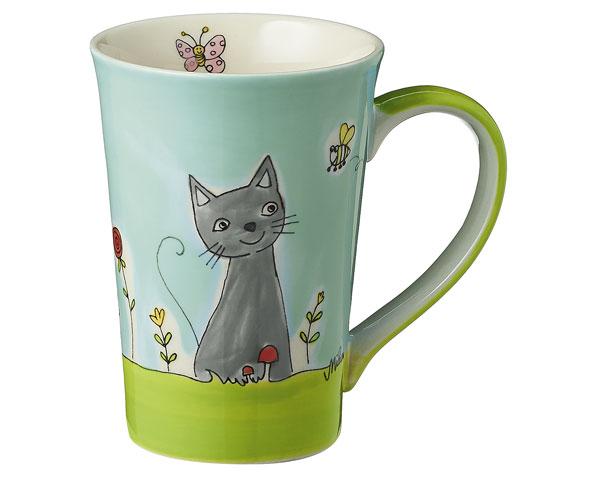 Teebecher - Katze in Blumenwiese